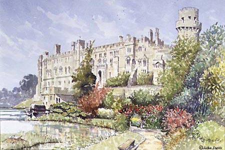 Warwick Castle - a watercolour by John Davis (c)